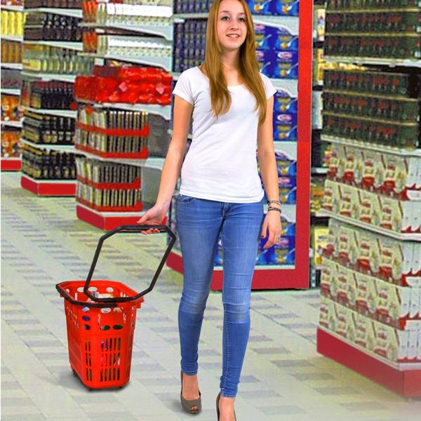 Plastična potrošačka korpa za prodavnice sa točkićima od 52 l