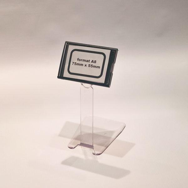 Kaseta za cene format A8 crna sa fiksnim postoljem visine 130mm