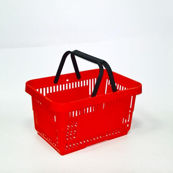 Plasticna potrosacka korpa za prodavnice 22l, crvena