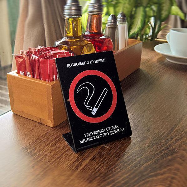 Table Zabranjeno pušenje / Dozvoljeno pušenje, stona A7 - slika iz prostora